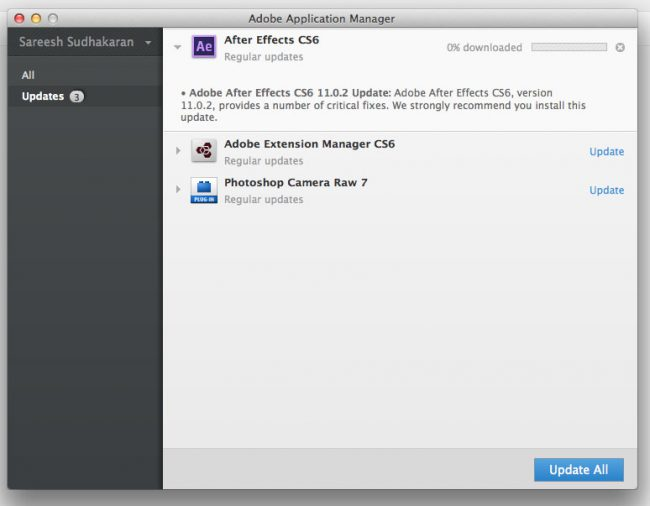 Adobe Application Manager Update Screen