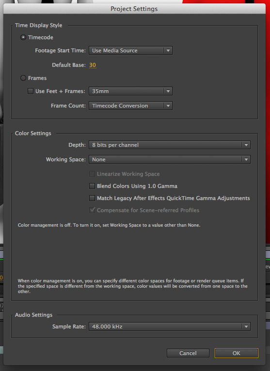 AE Project Settings