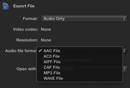 FCPX Export Audio