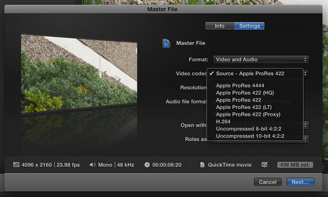 FCPX Share Master Options