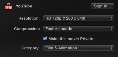 FCPX Youtube Options