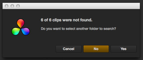 Resolve Clips not Found