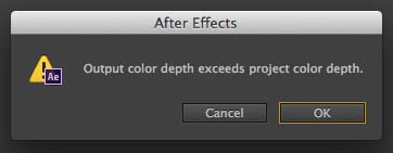 After Effects Bit Depth Error