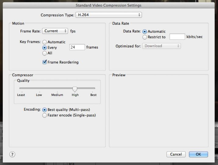 Avid Quicktime Codec Settings