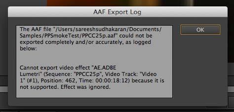 Premiere Pro AAF Error