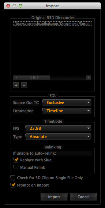 Redcine-X Pro EDL Import Settings