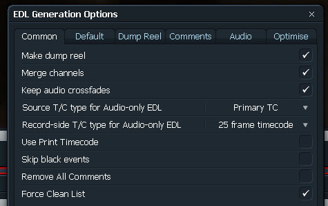 Lwks EDL Export Advance Options