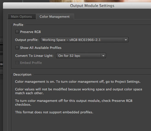 AE Color Management Output
