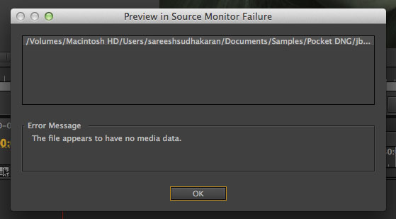 Pocket Camera Import Error Adobe Premiere Pro