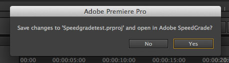 Save Premiere Pro Project b4 Speedgrade