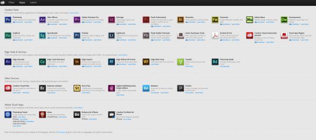 Applications Screen Adobe CC