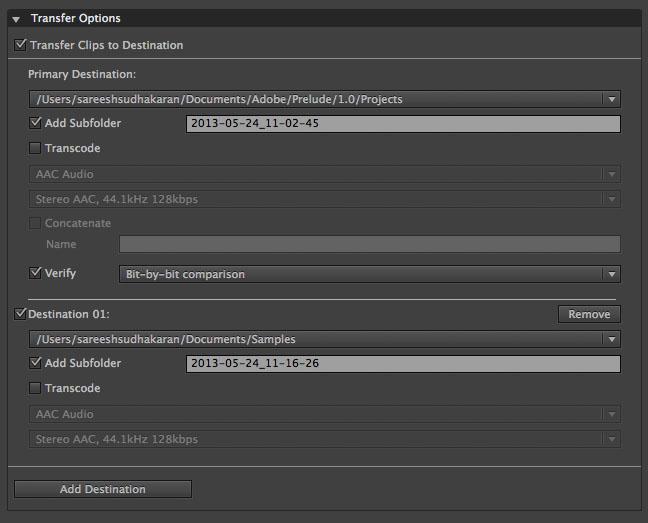 Transfer Options Screen Prelude