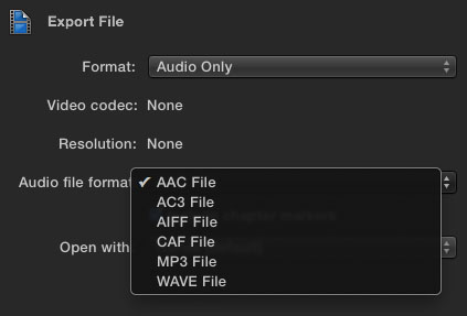 FCPX Export Audio