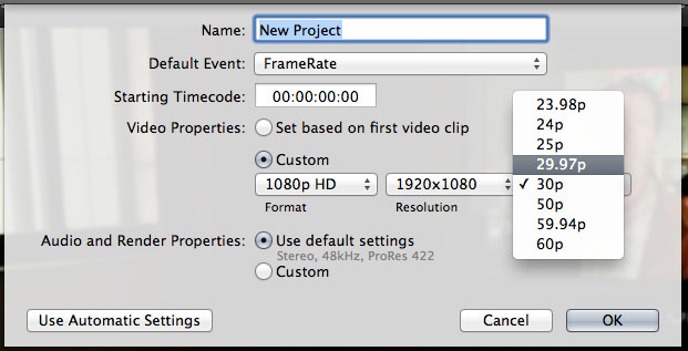 FCPX Frame Rates
