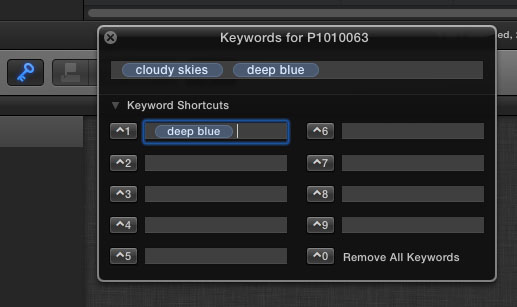 FCP X Keyword Entry