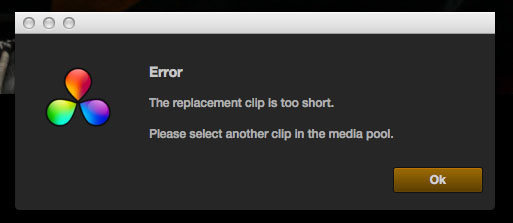 Resolve Replacement Clip Error