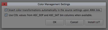 Avid Color Management