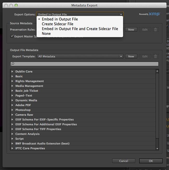 Premiere Pro Metadata Settings