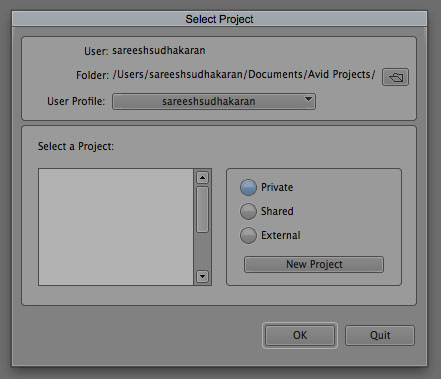 Project Selector Create