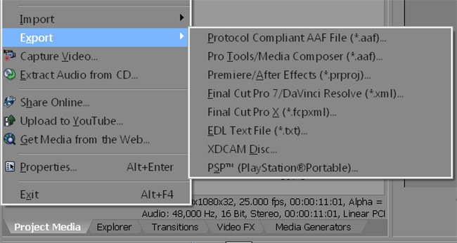 Sony Vegas Export Project Options
