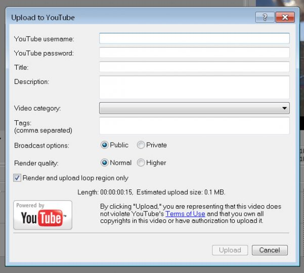 Sony Vegas YouTube Option