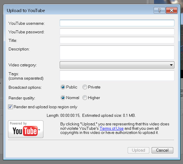 Sony Vegas YouTube Option