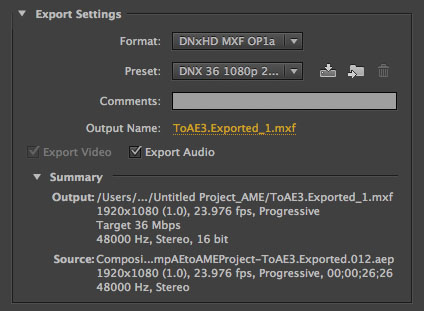 After Effects DNxHD Export