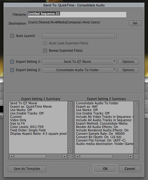 Avid to Pro Tools Export Settings
