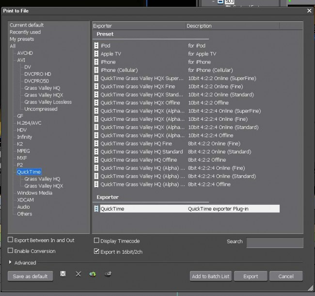 Edius Export to File Options