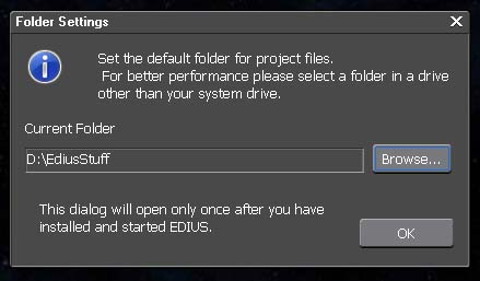 Edius Project Folder Setup