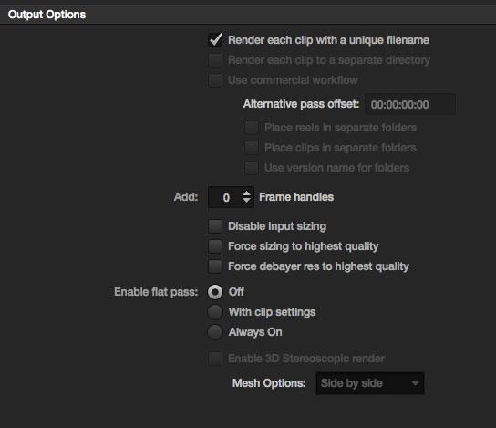 Resolve Output Options AAF