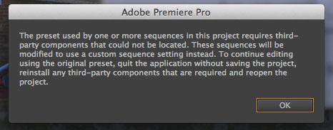 Premiere Pro Preset Error
