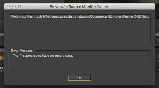 Pocket Camera Import Error Adobe Premiere Pro
