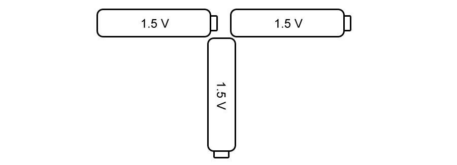 Three batteries 3 V